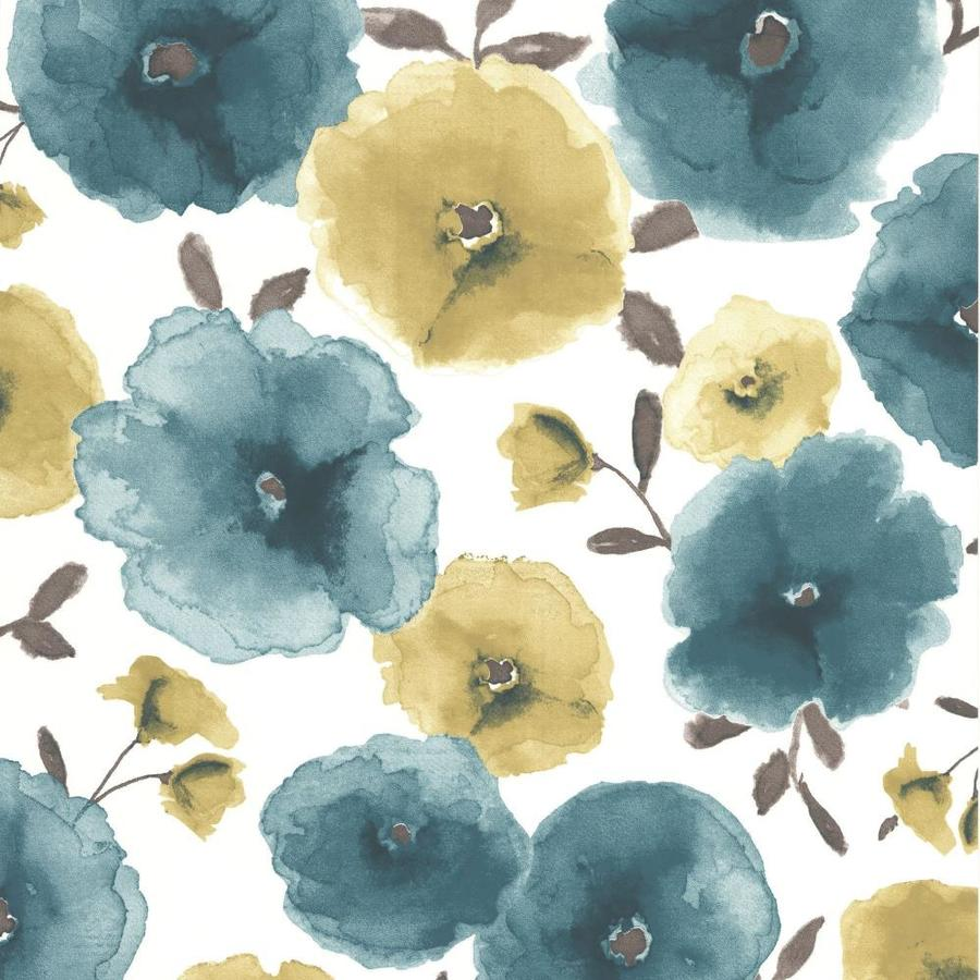 Superfresco Easy Eden Blue Vinyl Textured Floral Wallpaper