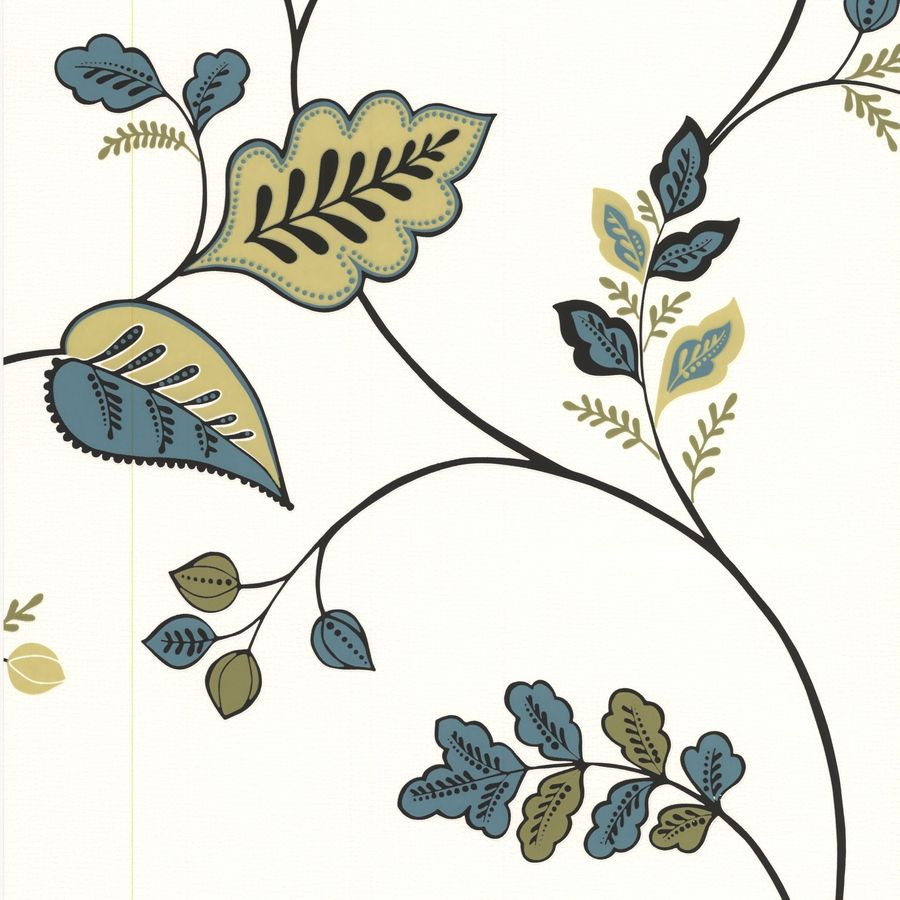 Superfresco Bohemia Green Vinyl Textured Floral Wallpaper