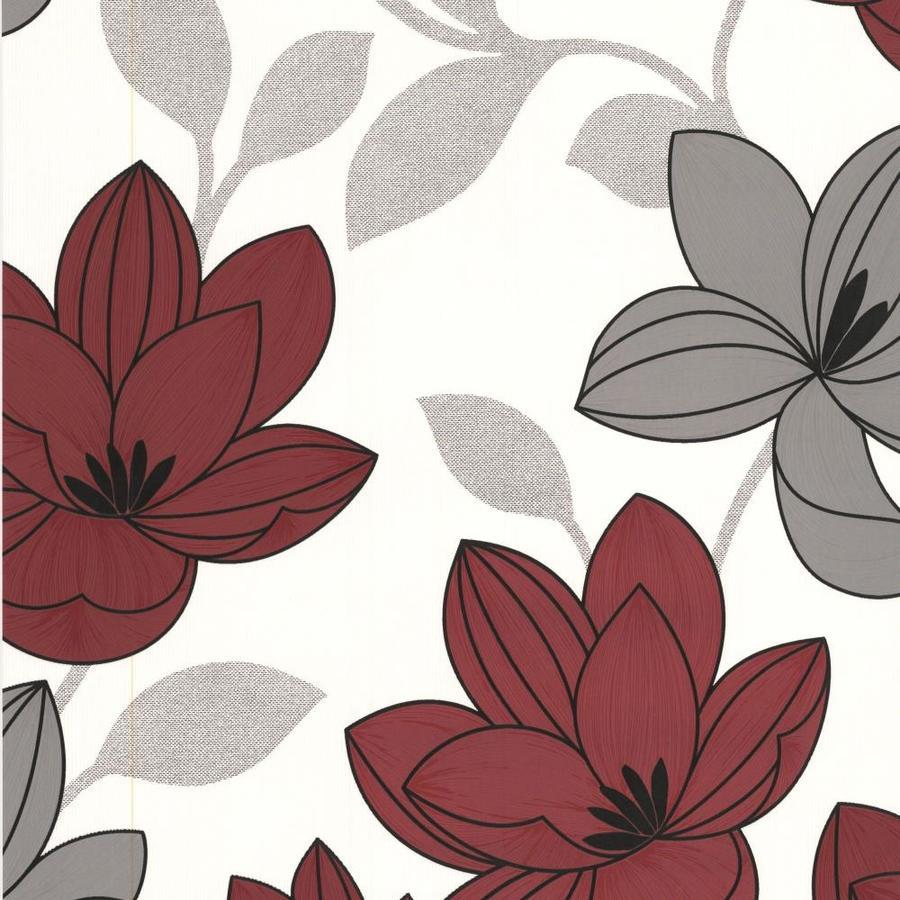 Graham & Brown Bohemia Red Vinyl Textured Floral Wallpaper