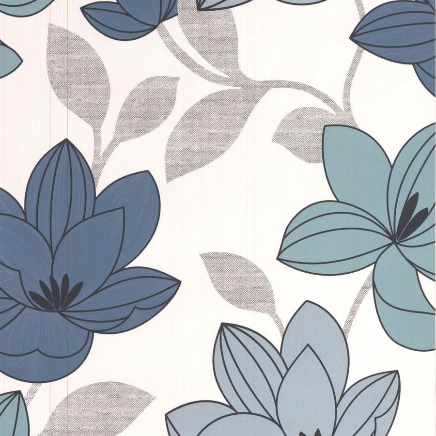 Superfresco Bohemia Blue Vinyl Textured Floral Wallpaper