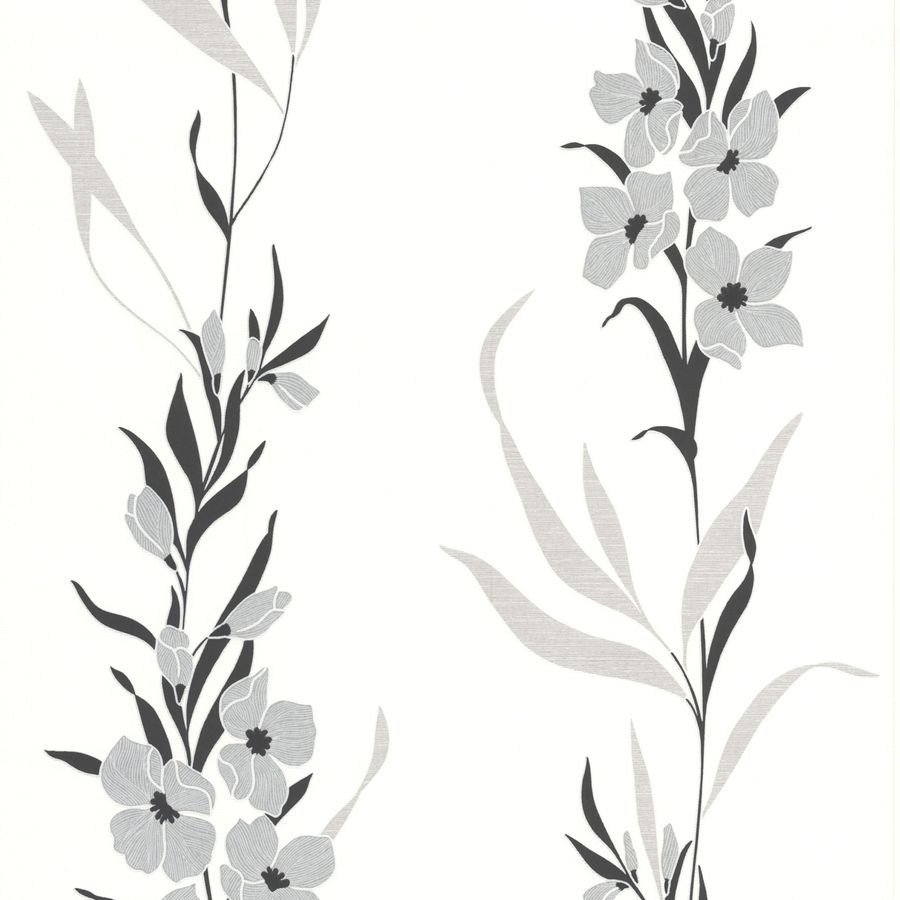 Superfresco Easy Eden Silver Vinyl Textured Floral Wallpaper