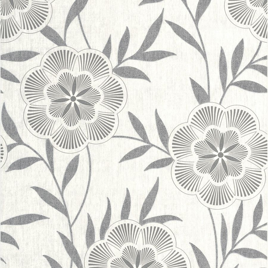 Graham & Brown Grey Paper Floral Wallpaper