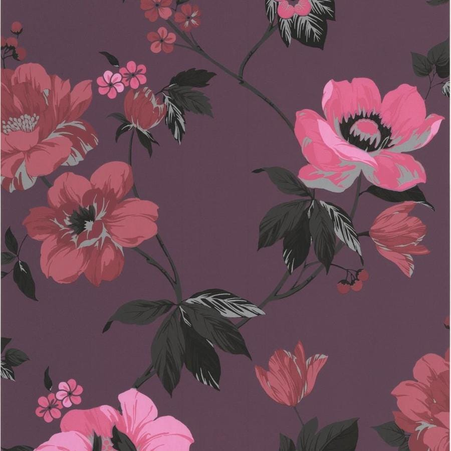 Graham & Brown Eden 56-sq Ft Purple Vinyl Textured Floral