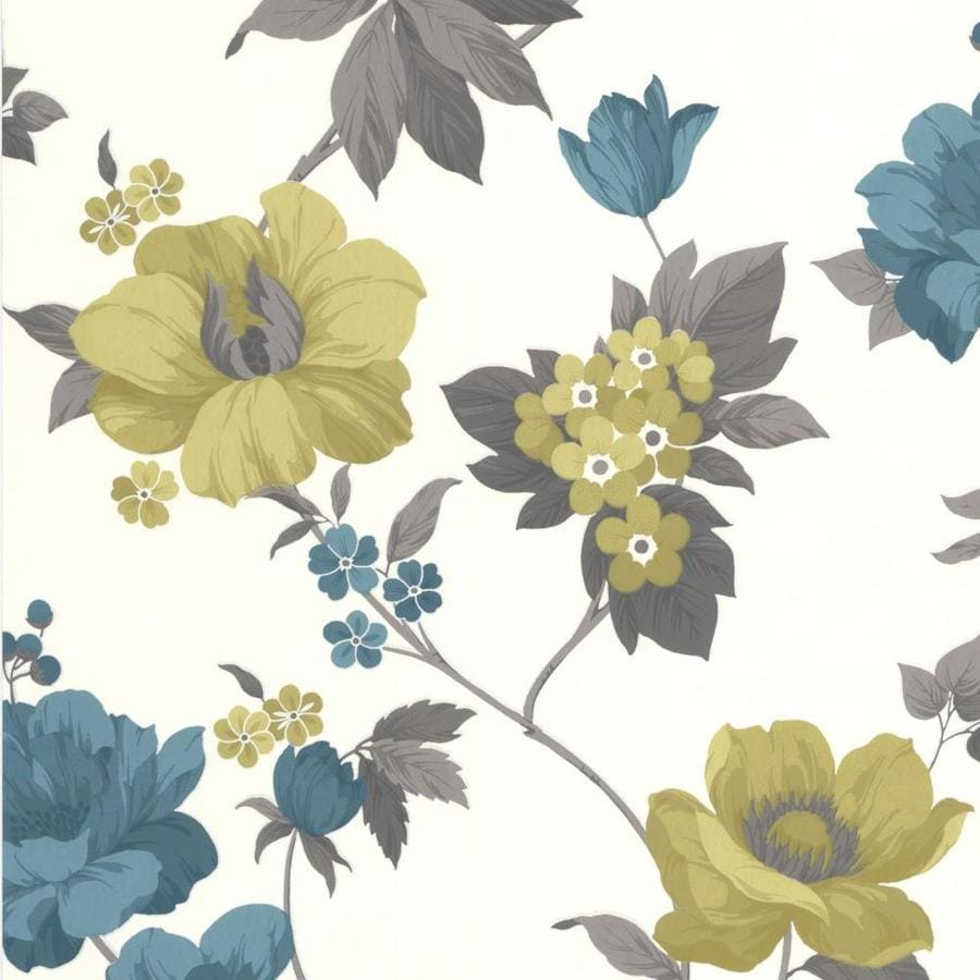 Graham & Brown Eden Blue Vinyl Textured Floral Wallpaper