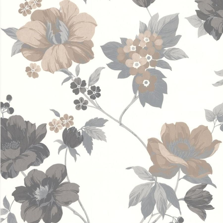 Graham & Brown Eden Brown Vinyl Textured Floral Wallpaper