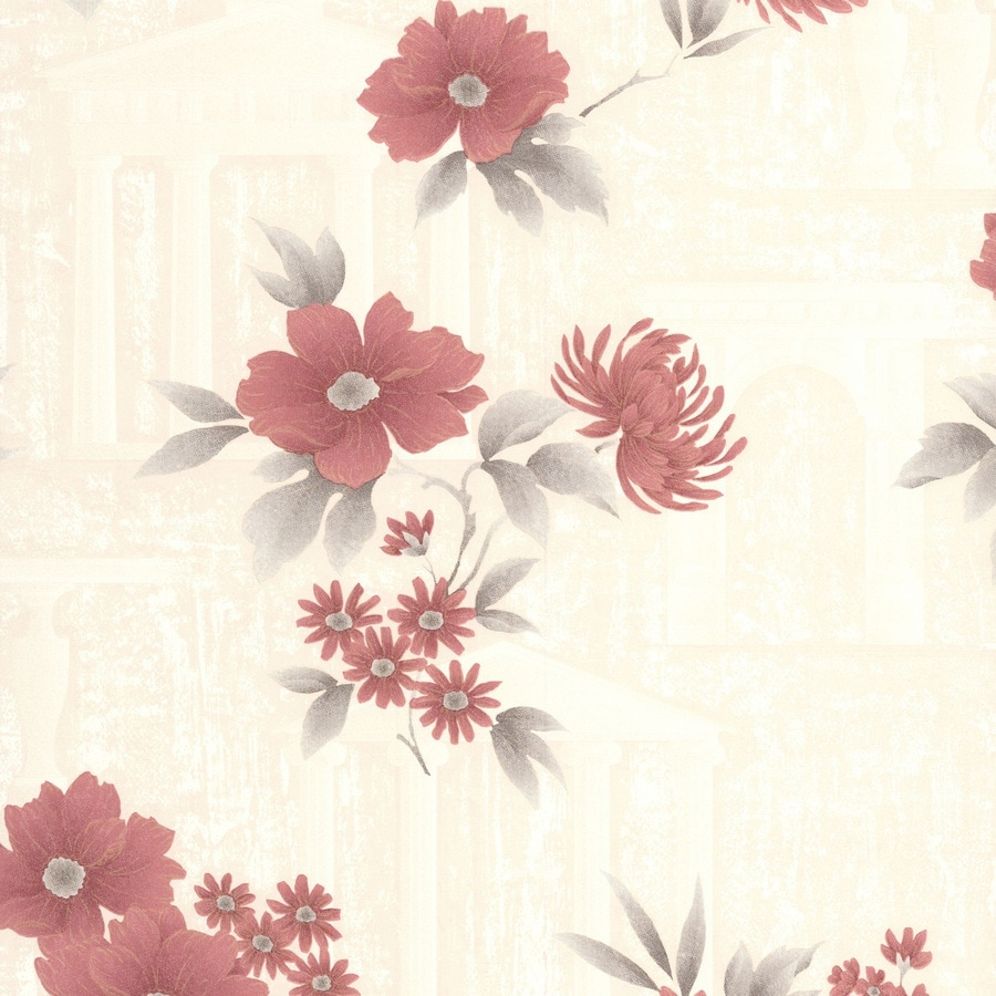 Graham & Brown Botanica Red Vinyl Textured Floral Wallpaper