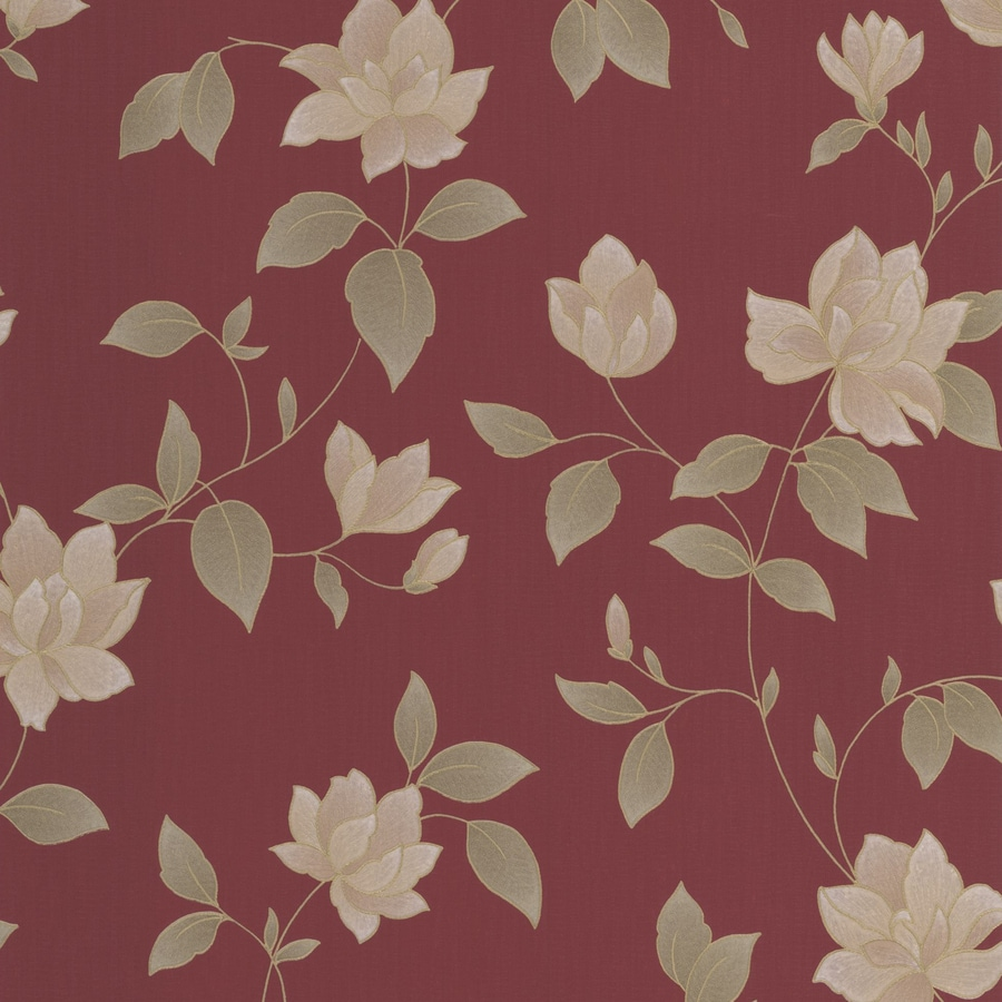 Graham & Brown Red Paper Floral Wallpaper
