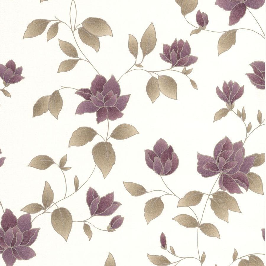 Graham & Brown Purple Paper Floral Wallpaper