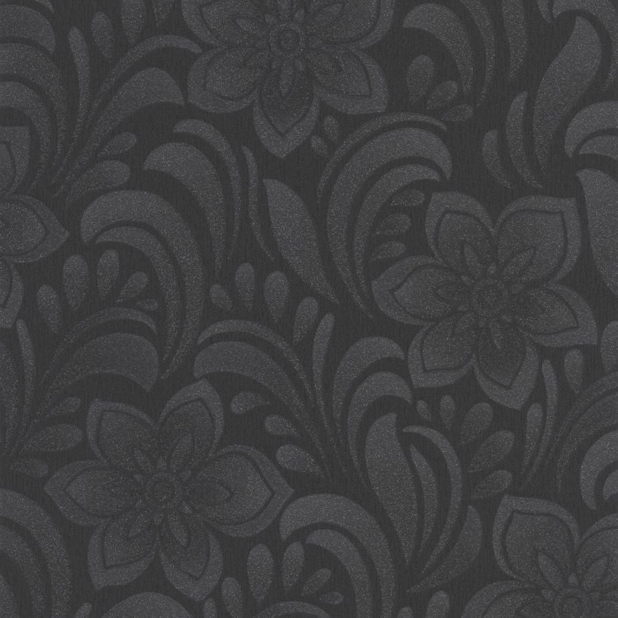 Graham & Brown Botanica Black Vinyl Textured Abstract Wallpaper