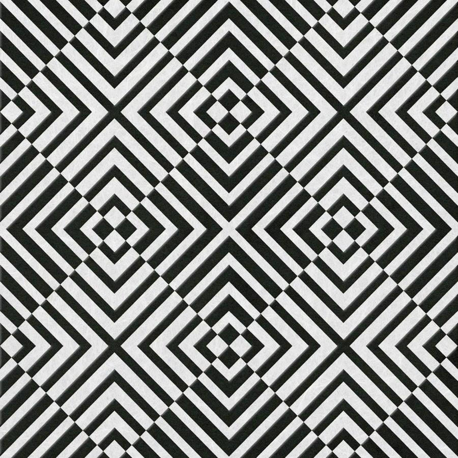 Graham & Brown Barbara Hulanicki Black Flock Textured Geometric Wallpaper