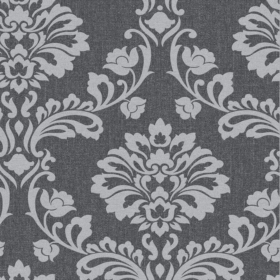 Shop graham brown midas 56 sq ft grey vinyl textured for Black and grey wallpaper designs