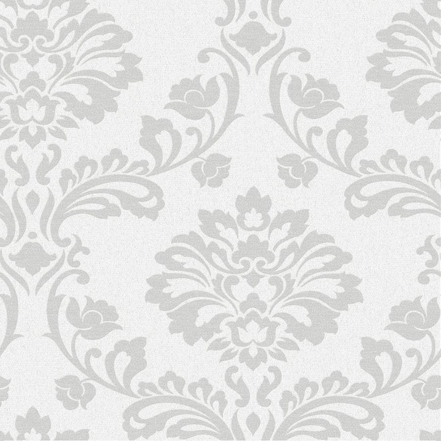 Graham & Brown Midas White Vinyl Textured Damask Wallpaper