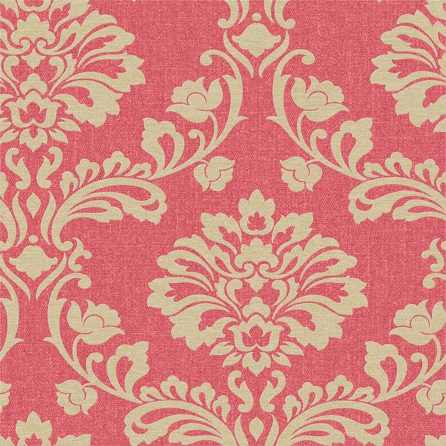 Graham & Brown Midas Red Vinyl Textured Damask Wallpaper