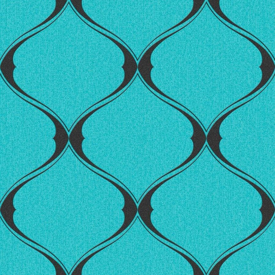 Graham & Brown Midas Turquoise Vinyl Textured Geometric Wallpaper
