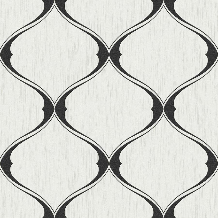 Graham & Brown Midas Black/White Vinyl Textured Geometric Wallpaper