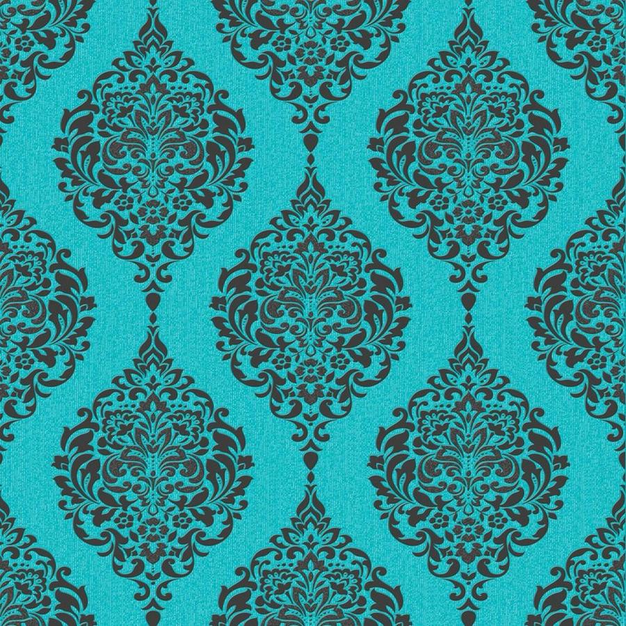 Graham & Brown Midas Turquoise Vinyl Textured Damask Wallpaper