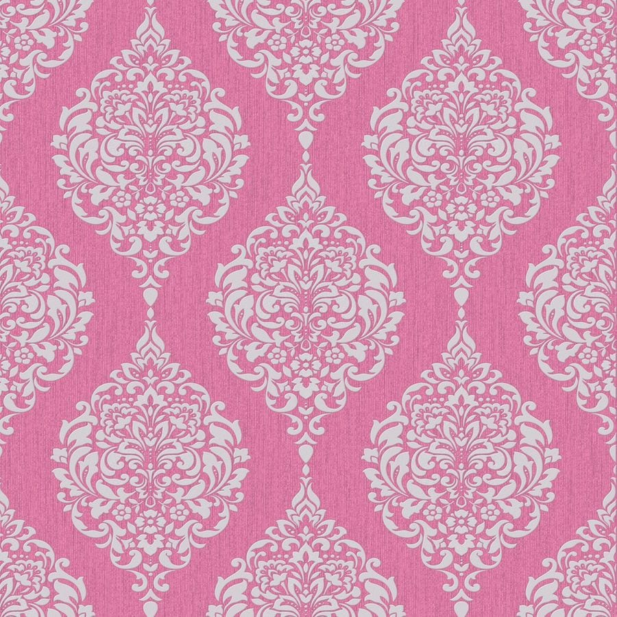 Graham & Brown Midas Pink Vinyl Textured Damask Wallpaper