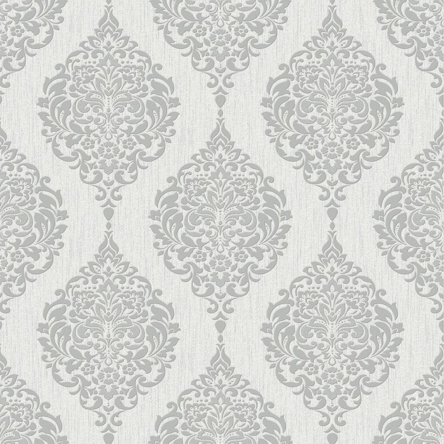 Graham Brown Midas 56 Sq Ft Grey Vinyl Textured Damask Wallpaper