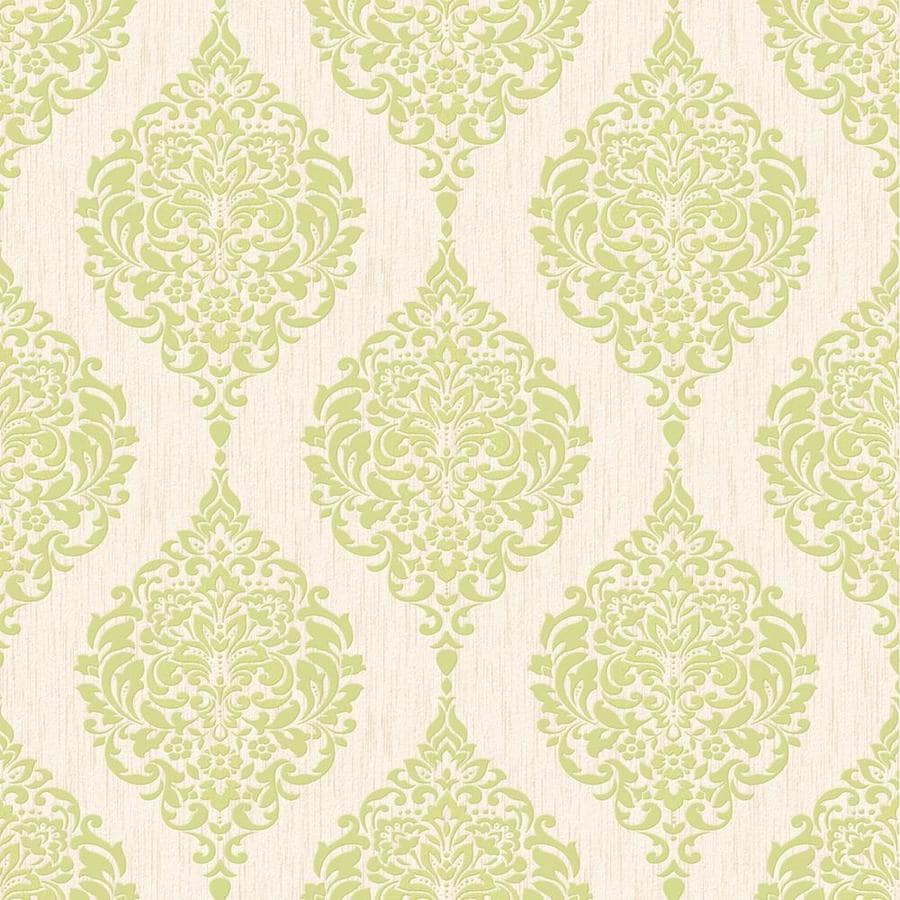 Graham & Brown Midas Green Vinyl Textured Damask Wallpaper
