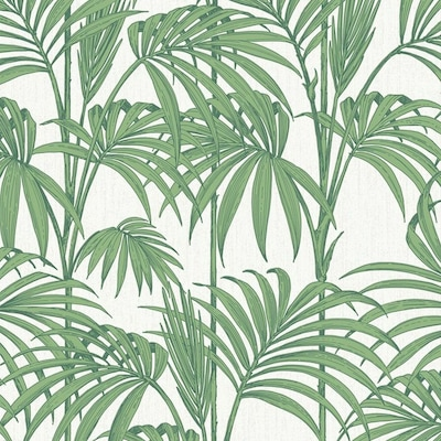 Julien Macdonald 56 Sq Ft Palm Green Vinyl Textured Floral Unpasted Paste The Wall Wallpaper