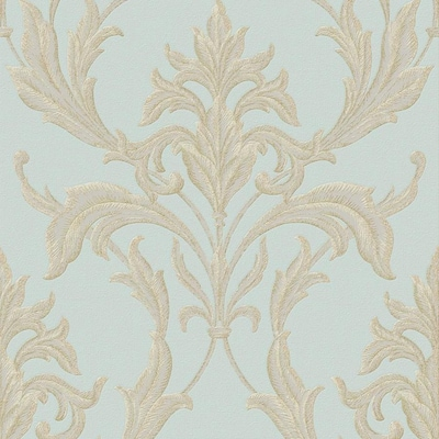 Oxford 56 Sq Ft Teal Gold Vinyl Textured Damask Unpasted Paste The Paper Wallpaper