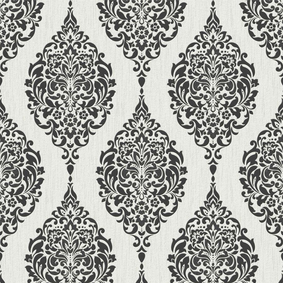 Graham Brown Essentials Black White Vinyl Textured Damask Wallpaper
