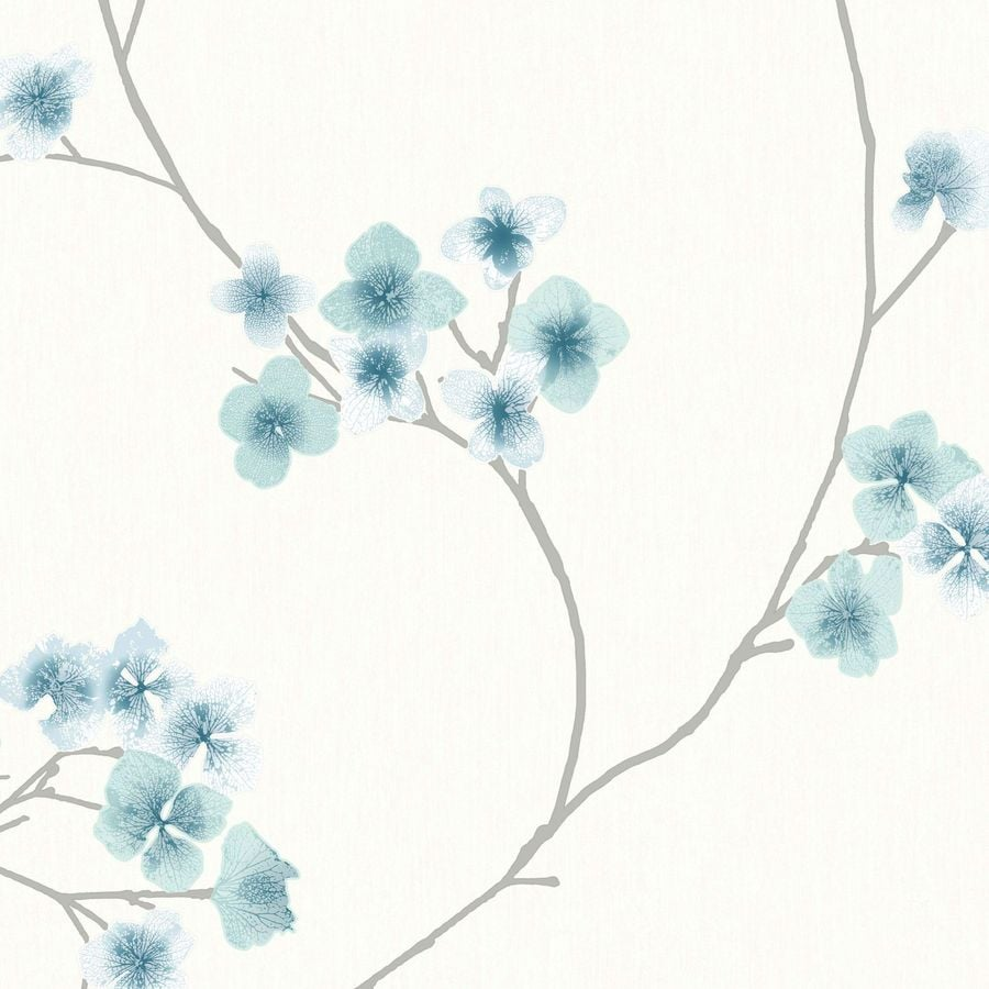 Graham & Brown Teal/White Paper Floral Wallpaper