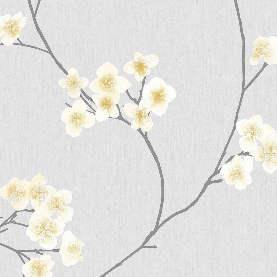 Graham & Brown Innocence Gray/Ochre Vinyl Textured Floral Wallpaper