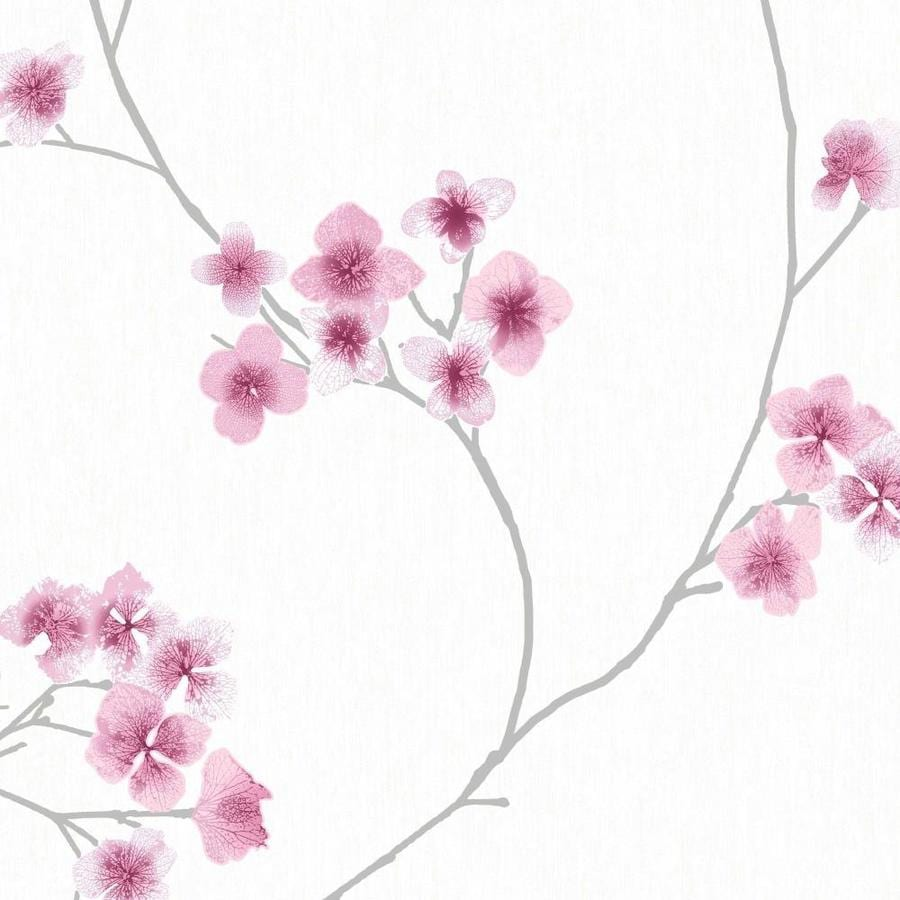 Graham & Brown Innocence White/Pink Vinyl Textured Floral Wallpaper