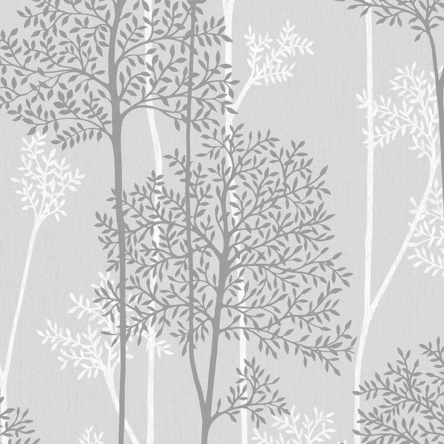 Graham & Brown Innocence Gray Vinyl Textured Floral Wallpaper