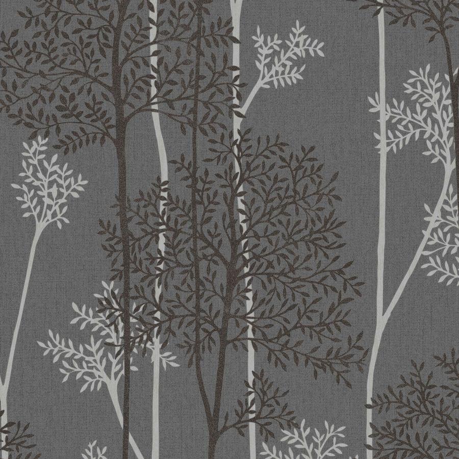 Graham & Brown Innocence Charcoal/Silver Vinyl Textured Floral Wallpaper