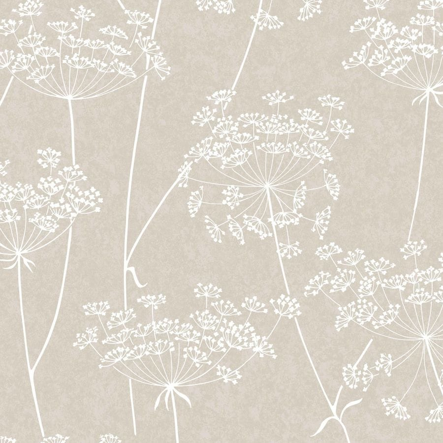 Graham & Brown Innocence Taupe Vinyl Textured Floral Wallpaper