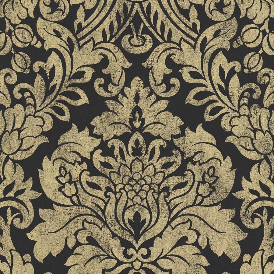 Graham & Brown Artisan Gold Paper Textured Damask Wallpaper