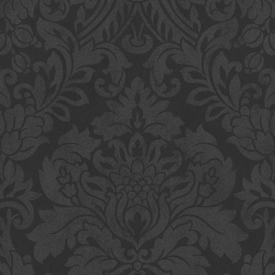 Graham & Brown Artisan Black Paper Textured Damask Wallpaper