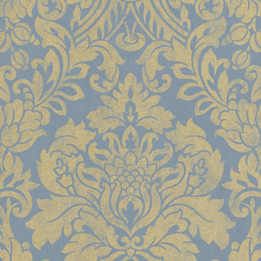 Graham & Brown Artisan Blue Paper Textured Damask Wallpaper