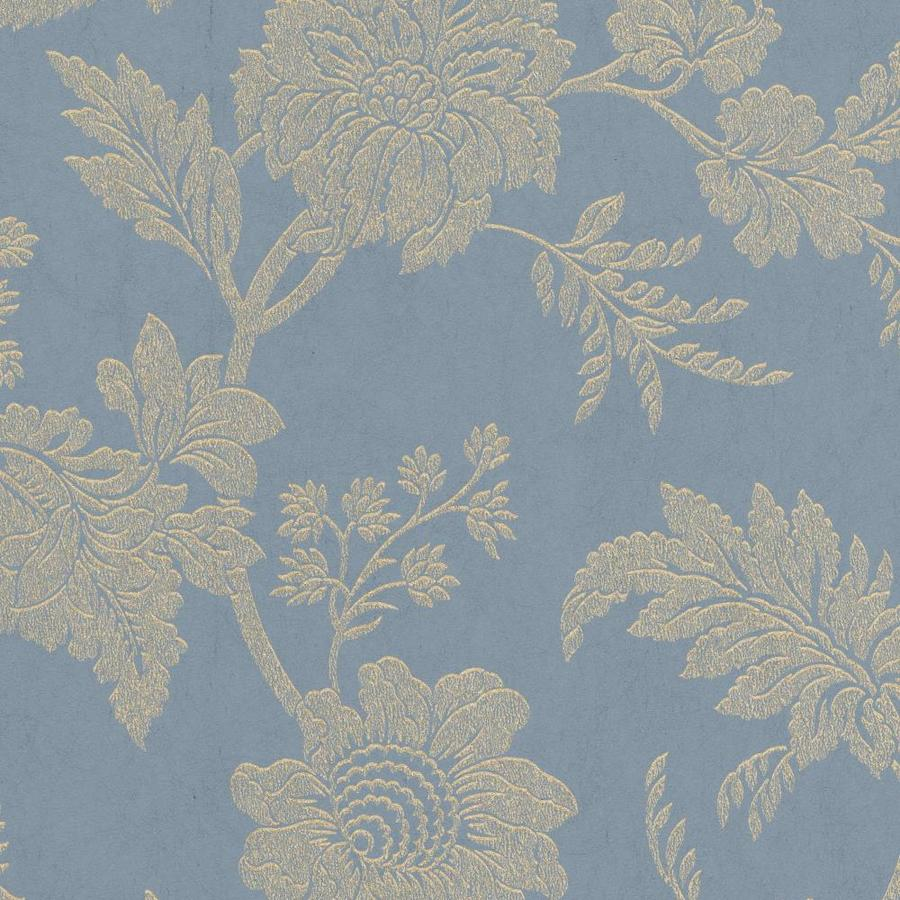 Graham & Brown Artisan Blue Paper Textured Floral Wallpaper