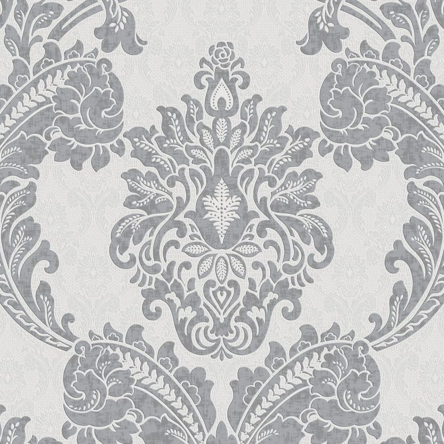 Shop graham brown palais gray vinyl textured damask for Black white damask wallpaper mural