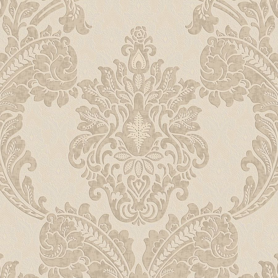 Graham & Brown Palais Neutral Vinyl Textured Damask Wallpaper