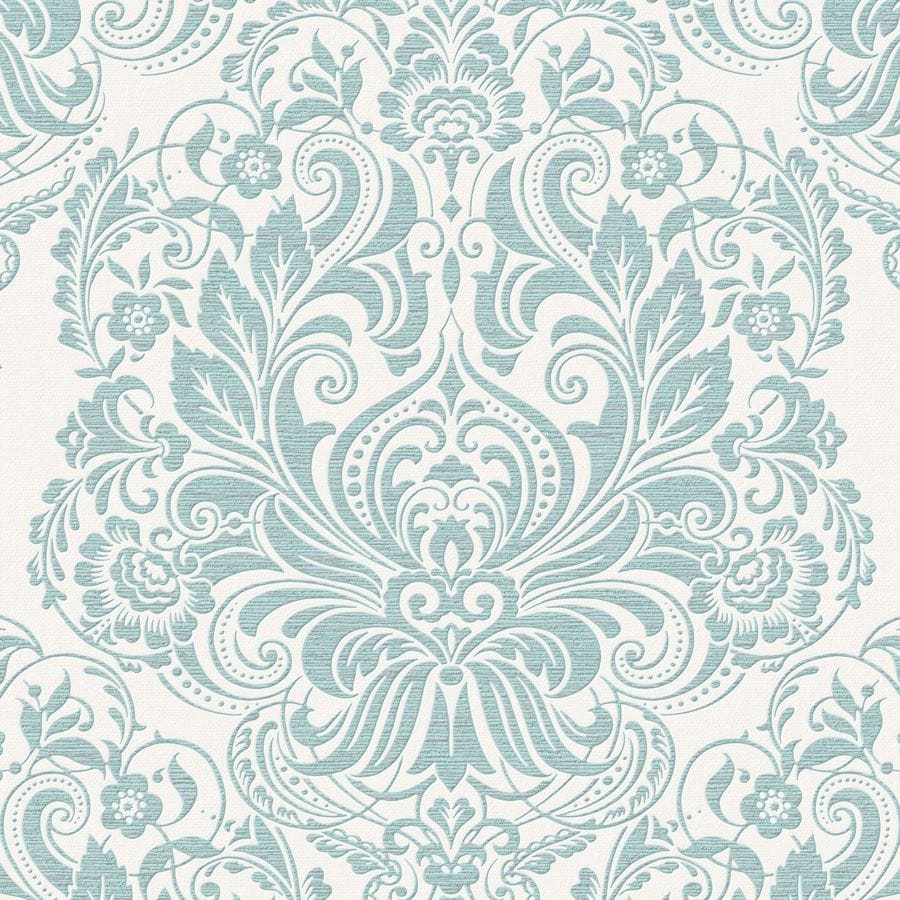 Graham & Brown Palais Duck Egg Vinyl Textured Damask Wallpaper