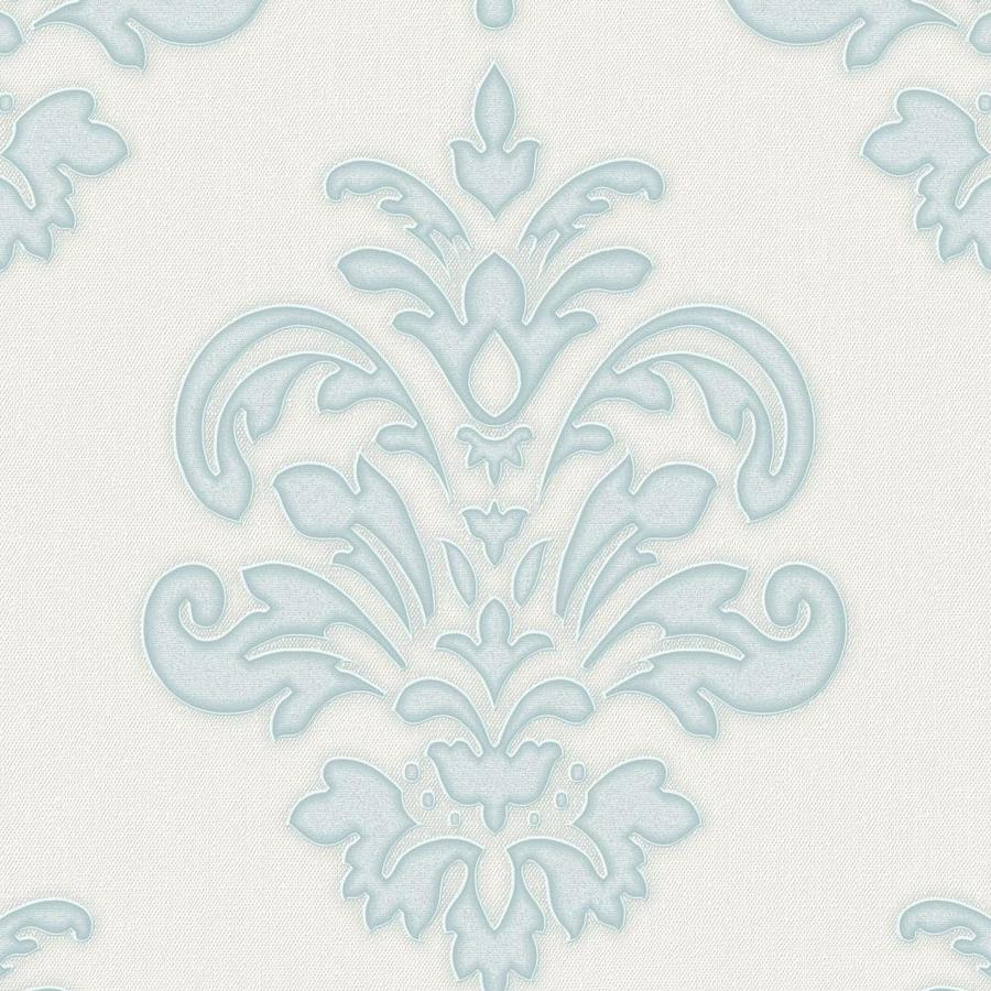 Graham & Brown Palais Duck Egg/White Vinyl Textured Damask Wallpaper