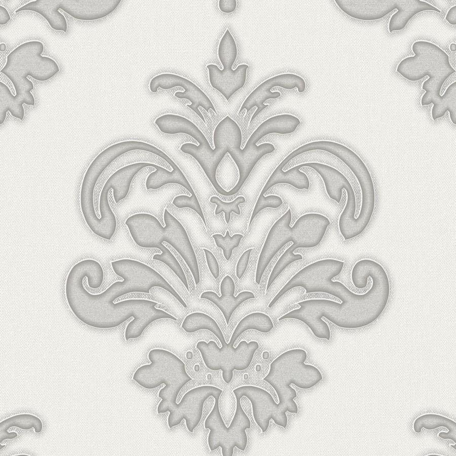 Graham & Brown Palais Gray/White Vinyl Textured Damask Wallpaper