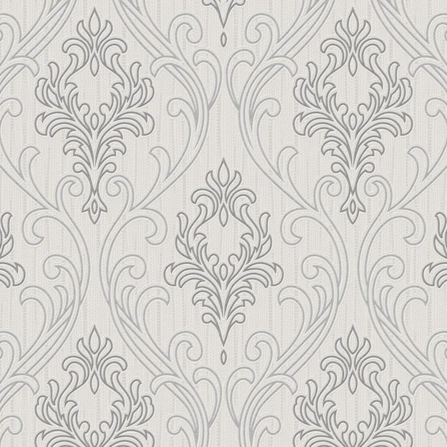 Graham & Brown Palais Gray Vinyl Textured Damask Wallpaper