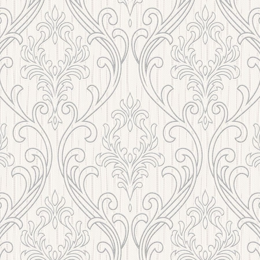 Graham & Brown Palais Silver/White Vinyl Textured Damask Wallpaper