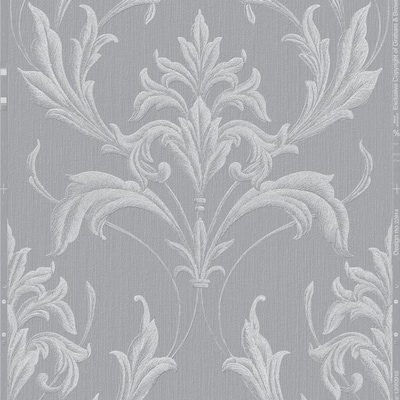 Graham Brown Essence 56 Sq Ft Silver Gray Vinyl Textured Damask