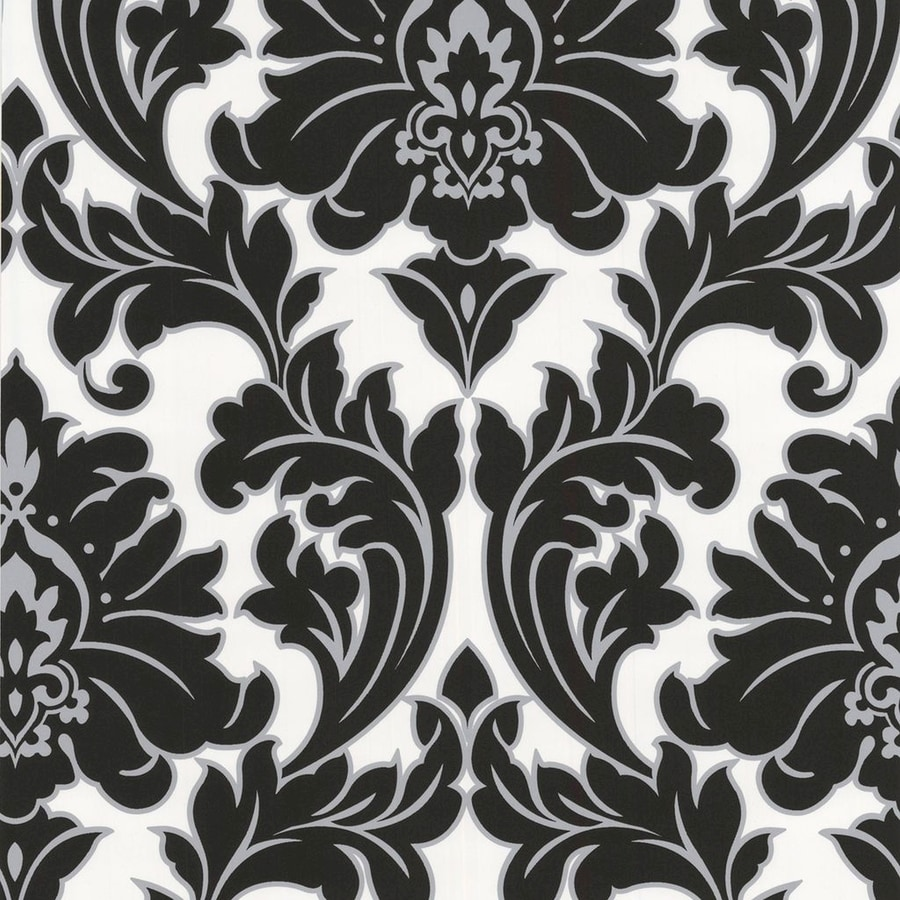 Shop allen roth timeless black white vinyl textured for Black white damask wallpaper mural