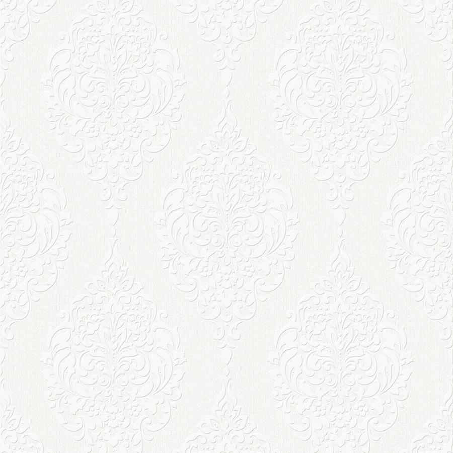 Graham & Brown Eclectic White Vinyl Paintable Textured Damask Wallpaper