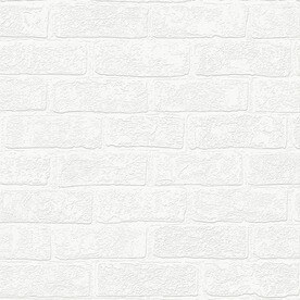 Graham U0026 Brown Eclectic 56 Sq Ft White Vinyl Paintable Textured Brick  Wallpaper