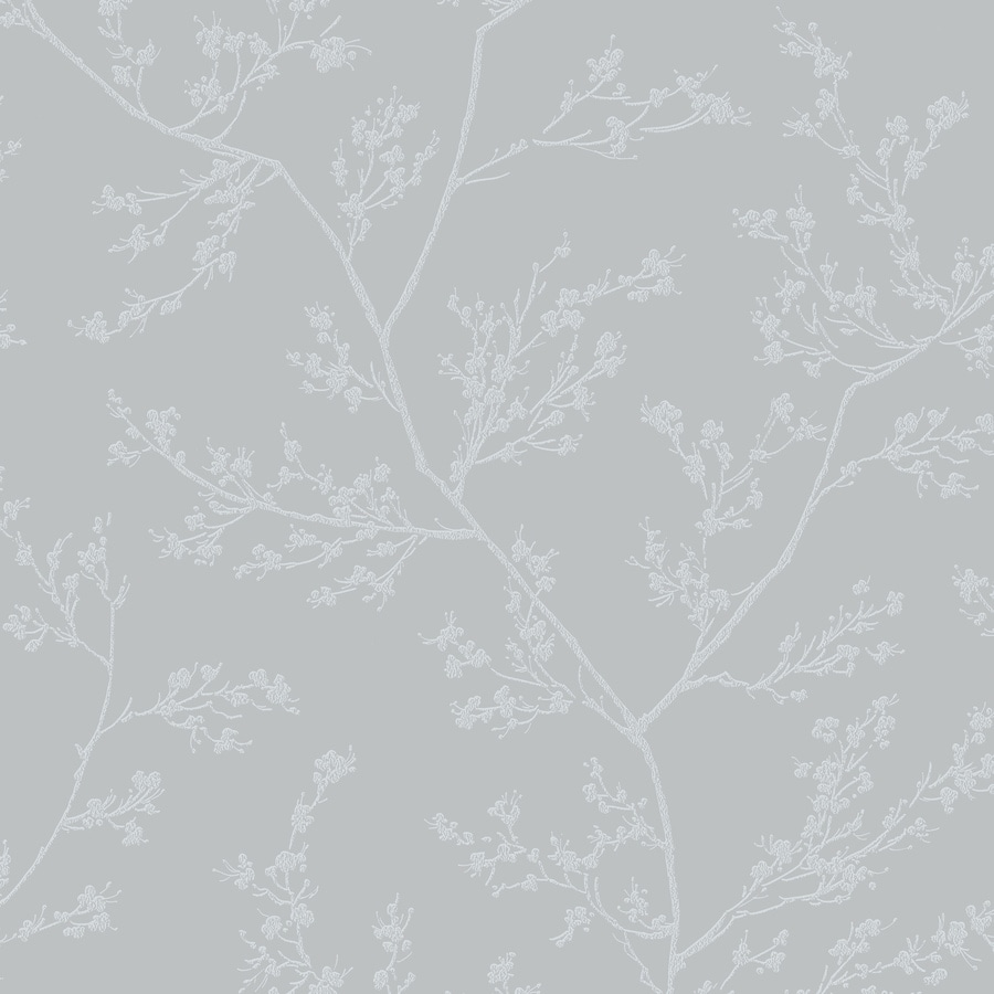 Graham & Brown Pure Gray and Silver Paper Textured Floral Wallpaper
