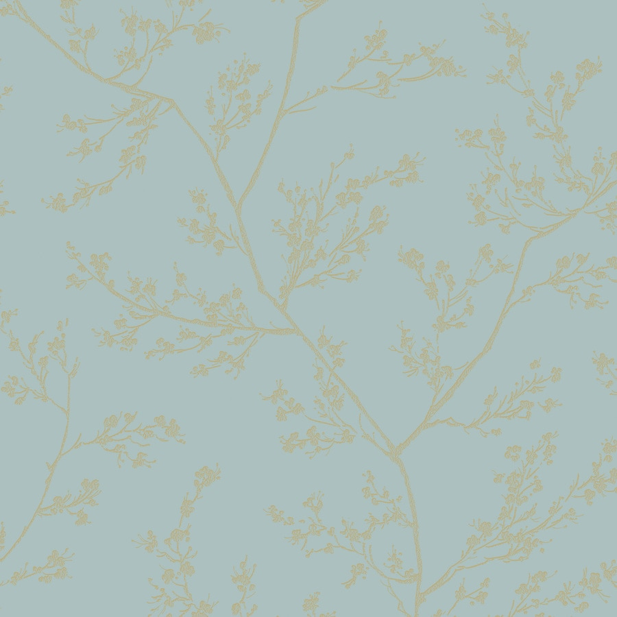 Graham & Brown Pure Aqua and Gold Paper Textured Floral Wallpaper