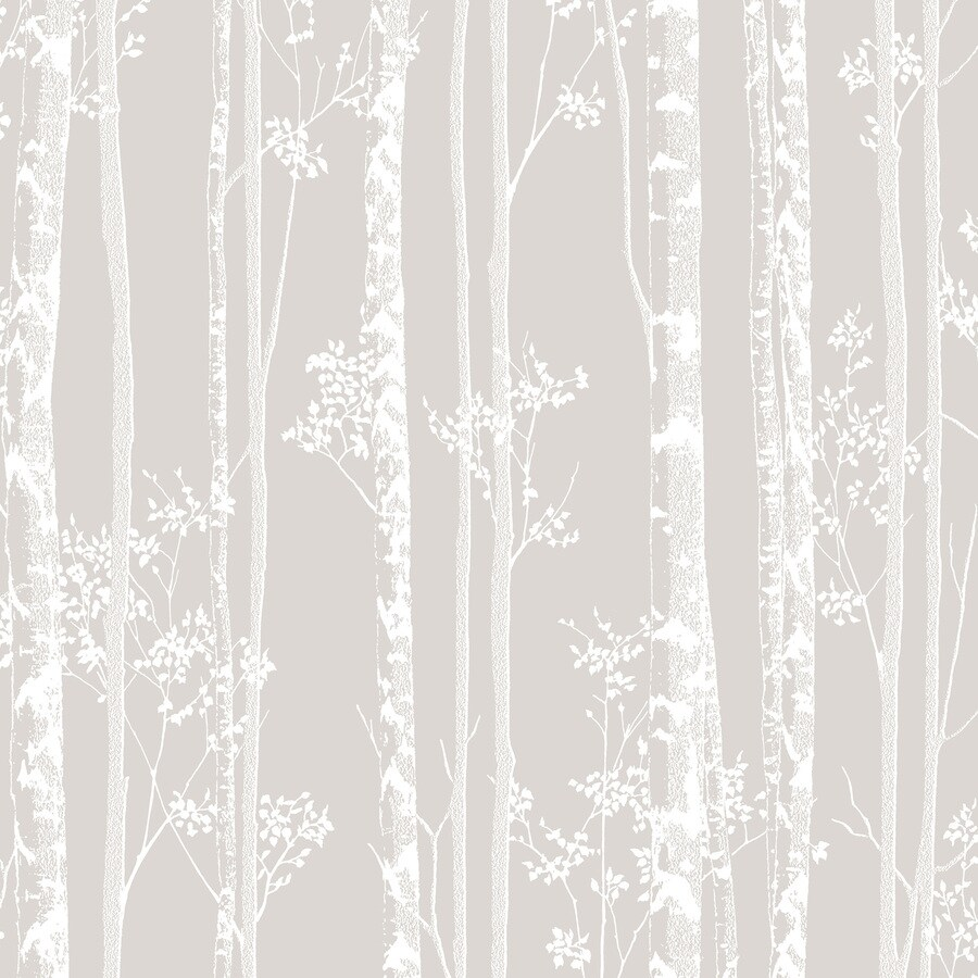 Graham & Brown Pure Taupe and White Paper Textured Floral Wallpaper